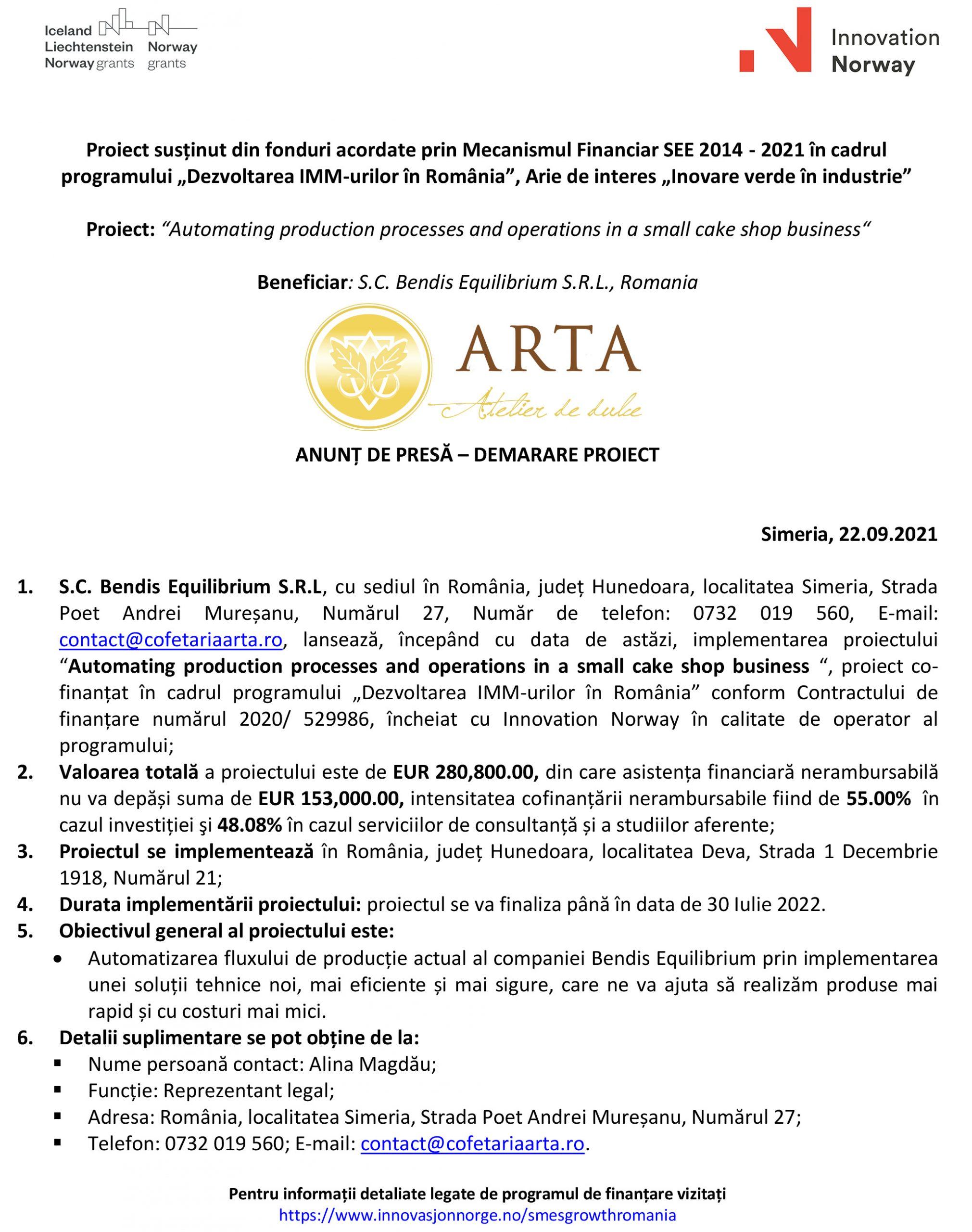 ANUNȚ DE PRESĂ – DEMARARE PROIECT S.C. Bendis Equilibrium S.R.L