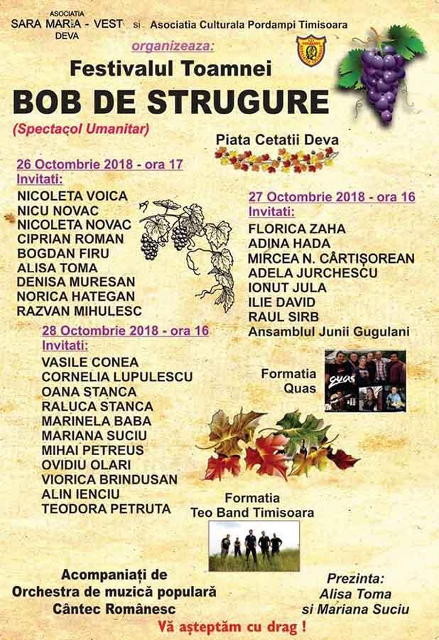"""Festivalul Toamnei """"Bob de strugure"""": Artiști din mai multe colțuri ale țării se unesc pentru o cauză nobilă"""