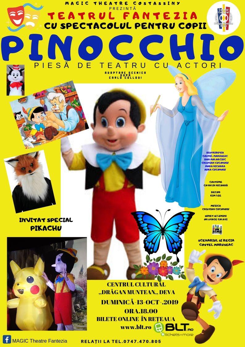 """Pinocchio vine la Deva. Spectacolul va fi jucat la Centrul Cultural """"Drăgan Muntean"""", duminica viitoare"""