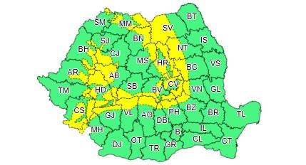 Cod galben de vânt puternic în zonele montane din județ, până în 1 februarie