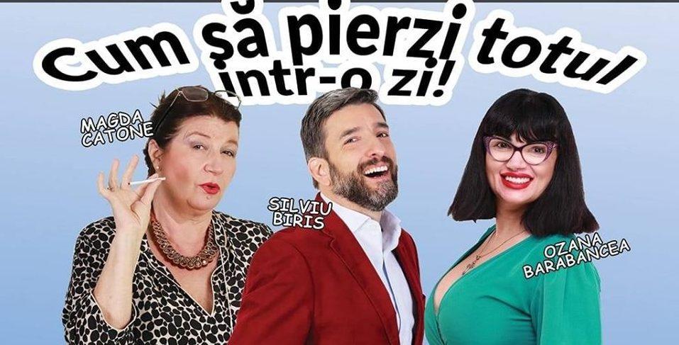 Magda Catone, Ozana Barabancea și Silviu Biriș, alături de alți actori, într-o comedie savuroasă la Deva