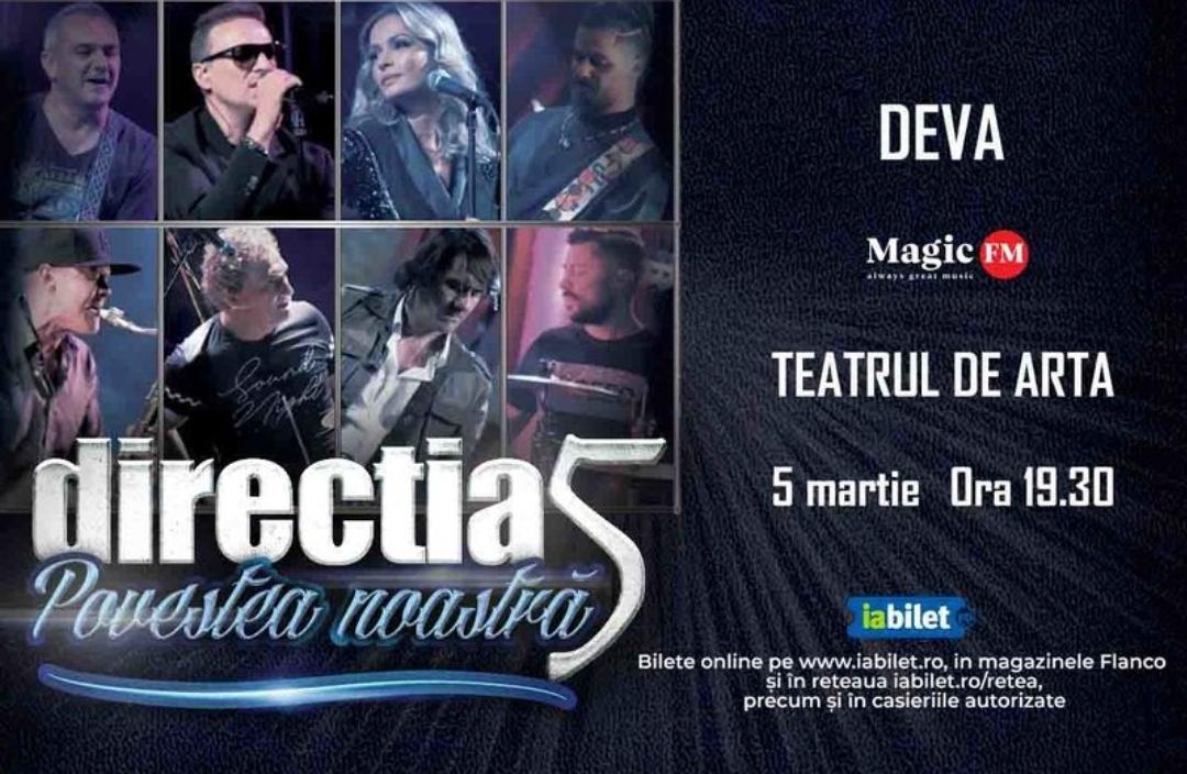 """Turneul național Direcția 5 – """"Povestea noastră – 30 de ani"""", ajunge și la Deva"""