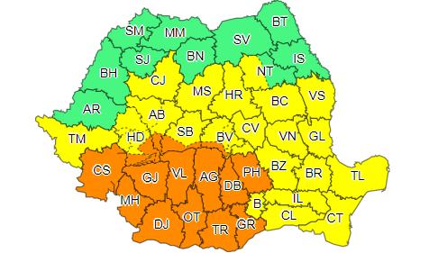 Alertă ANM: Atenționare de cod galben și portocaliu de ploi torențiale, vijelii și grindină