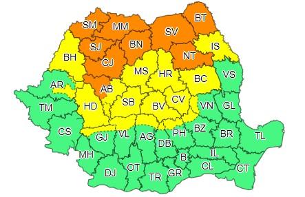 Cod galben de ploi, în județul Hunedoara, valabil până luni dimineața