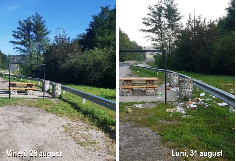 """Urmările unui weekend într-o parcare de pe DN 76, în județul Hunedoara. """"Drumul NU e coș de gunoi!"""", atrag atenția drumarii"""