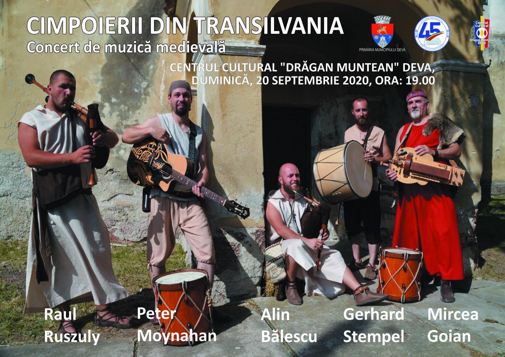 """Acorduri medievale vor răsuna în centrul Devei. Călătorie muzicală prin secolele XIII-XVII cu """"Cimpoierii din Transilvania"""""""