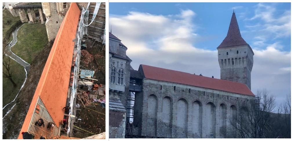 """Lucrările la acoperișul Castelului Corvinilor avansează. Cum arată """"Galeria Suspendată"""" a impunătorului monument medieval"""