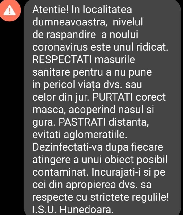 """Trei municipii şi un oraş din judeţ – """"zone roşii"""" COVID-19. Locuitorii, avertizați prin Ro-Alert"""