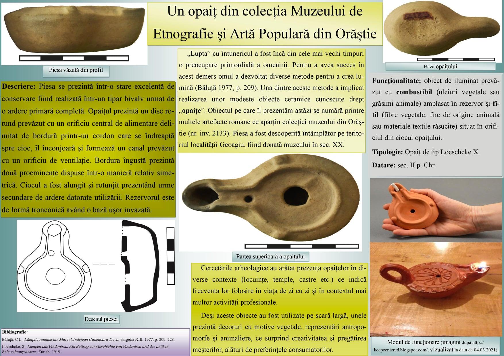 Un opaiț, exponatul prezentat în mediul online de Muzeul Civilizaţiei Dacice şi Romane Deva