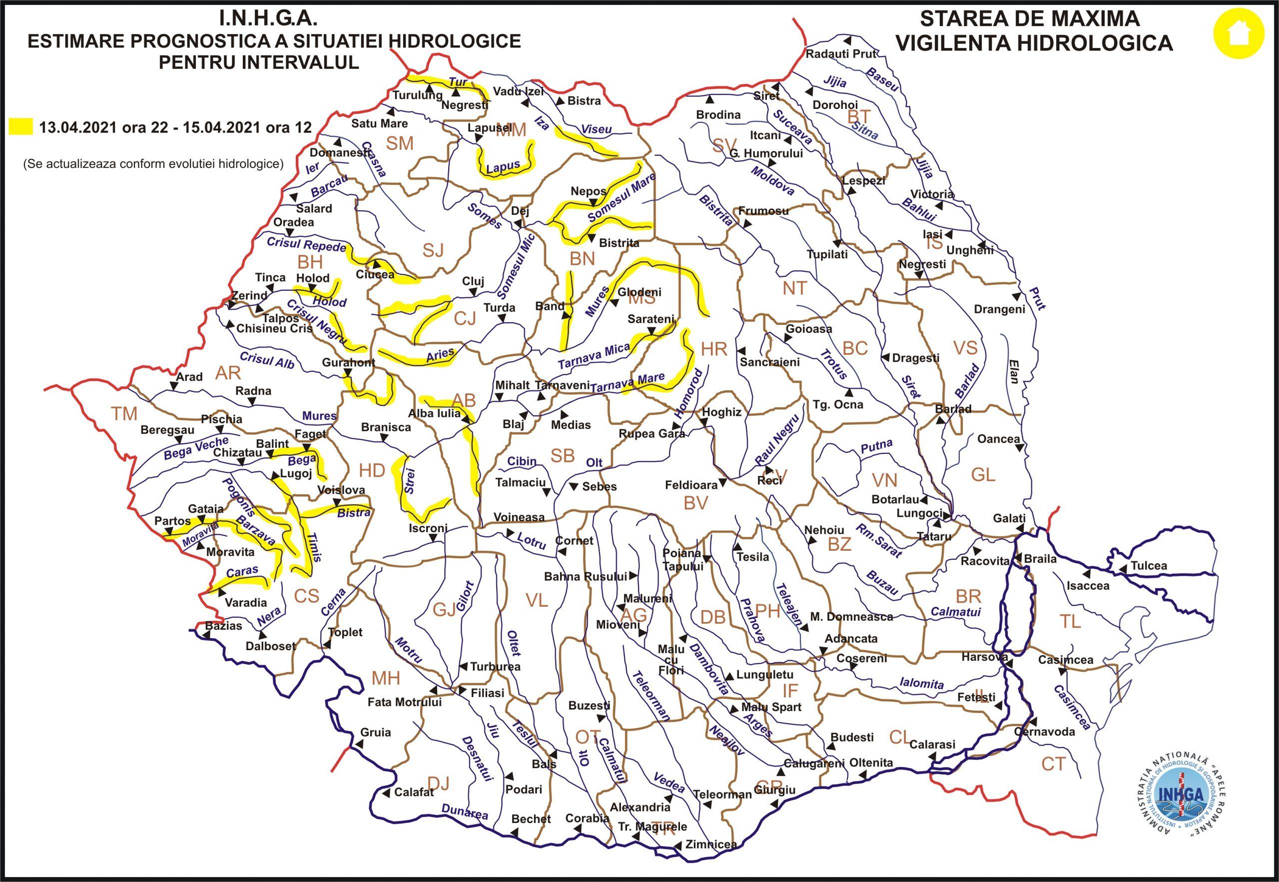 Hidrologii atenţionează: Cod galben de viituri în bazine geografice din 13 judeţe, între care şi Hunedoara