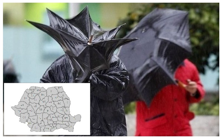 Vremea se răceşte în toată ţara. Informare meteo de ploi şi vânt