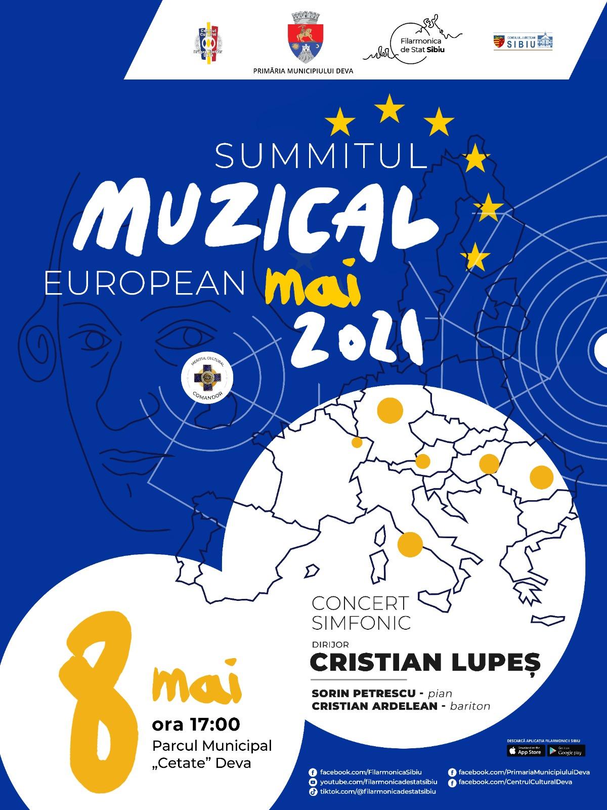 Concert simfonic, în parcul din Deva, dedicat Zilei Europei
