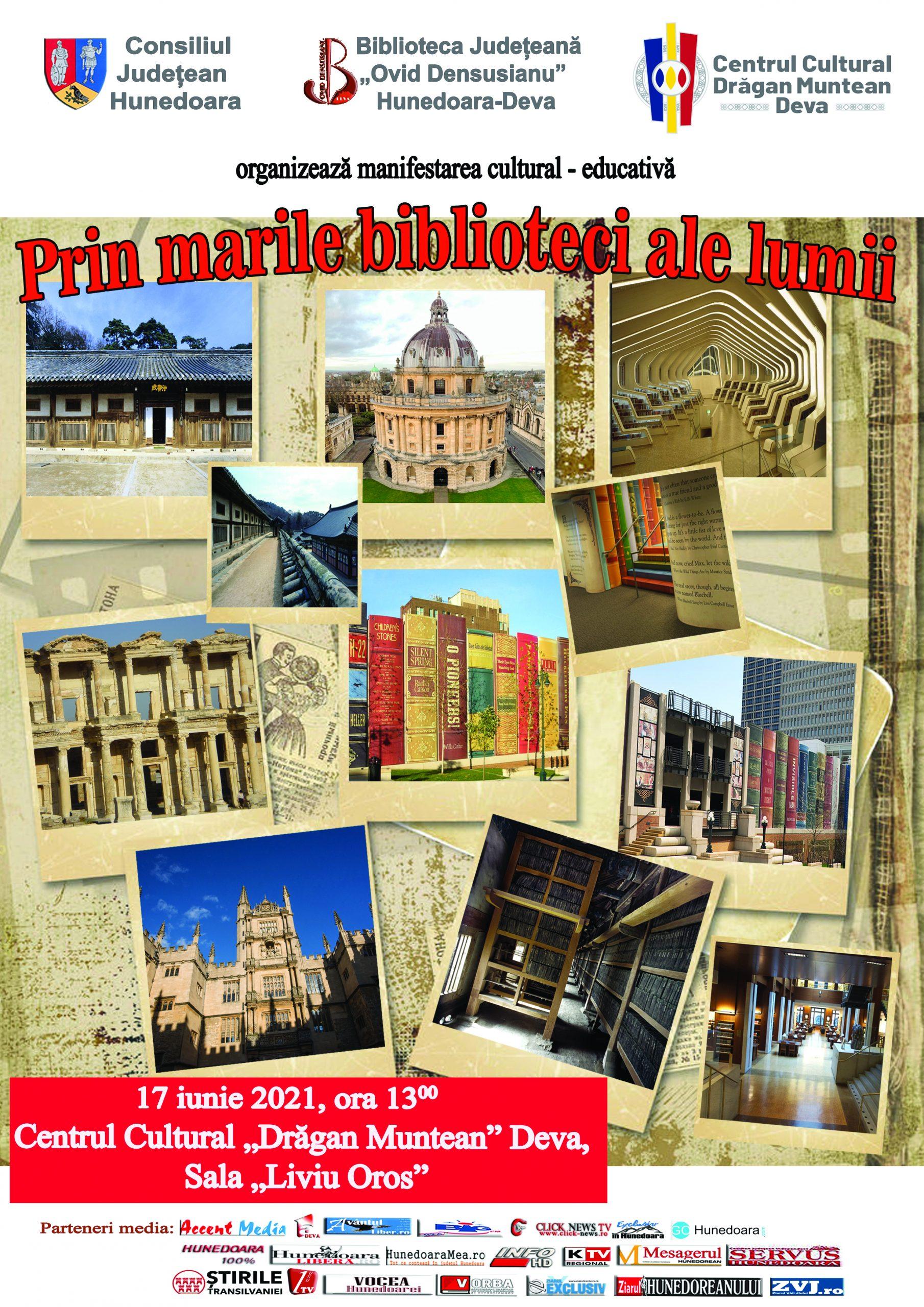 """""""Prin marile biblioteci ale lumii"""", eveniment organizat de Biblioteca Județeană """"Ovid Densusianu"""" Hunedoara-Deva"""