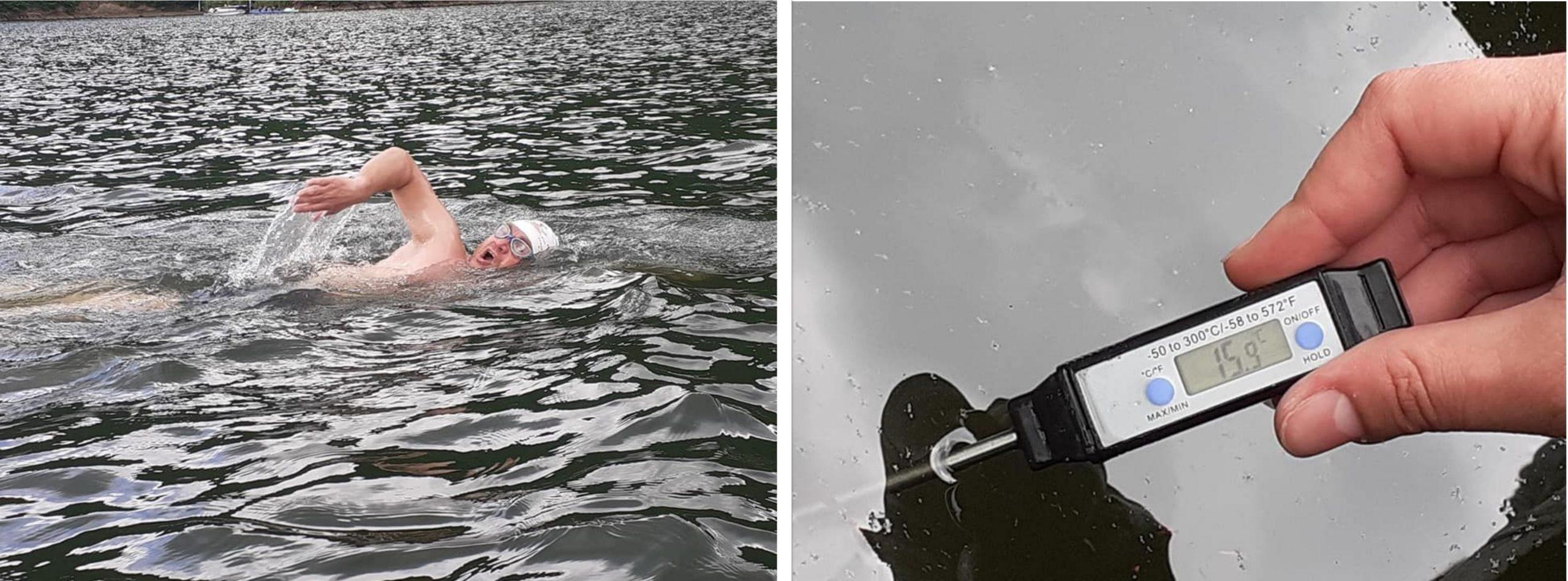 Înotătorul hunedorean Avram Iancu, un nou antrenament, de data aceasta, în apele reci ale lacului Tarniţa