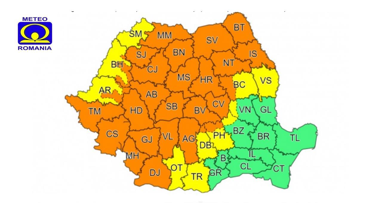 Noi alerte de la ANM. Cod portocaliu și galben de vreme instabilă în județul Hunedoara
