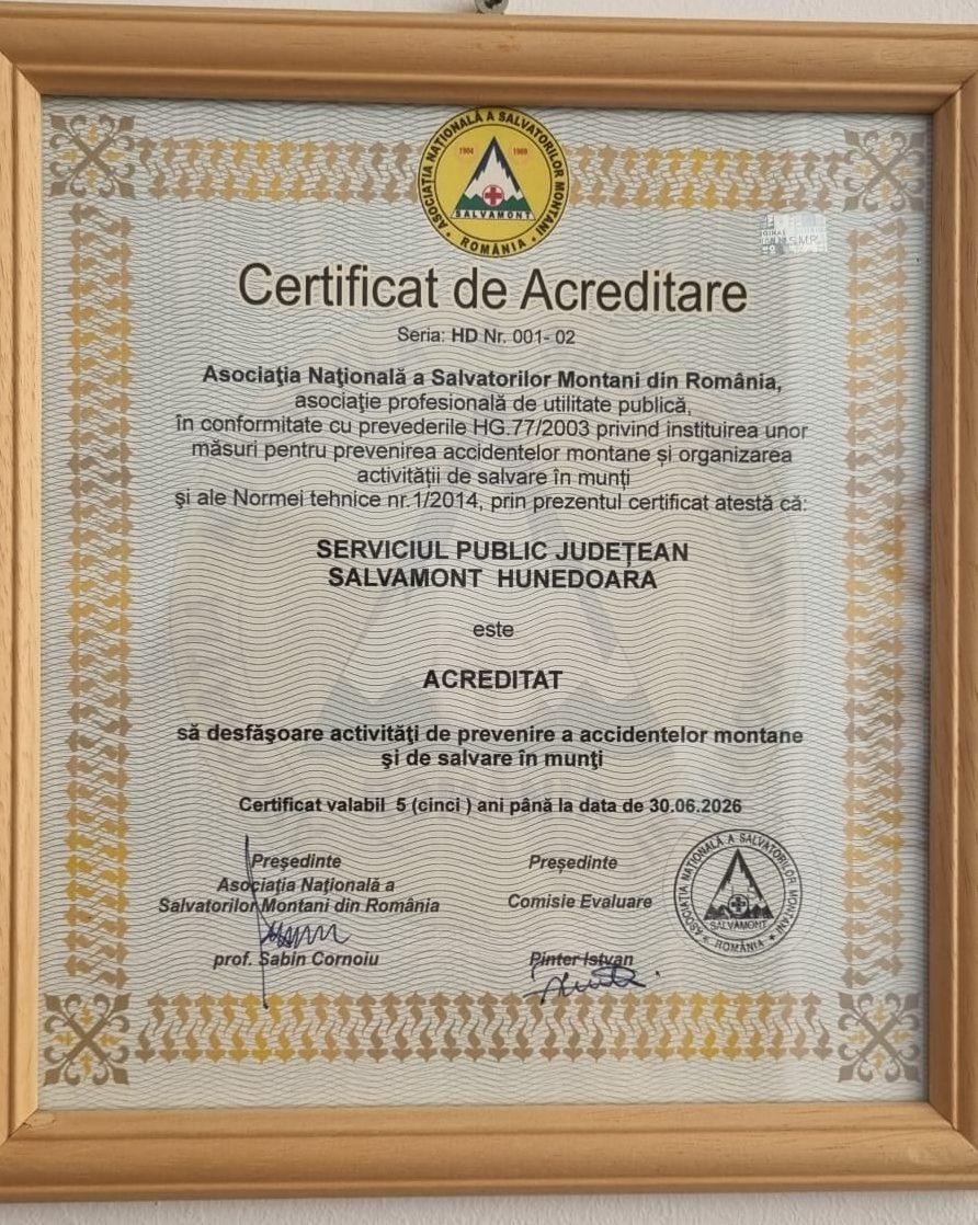 Serviciul Public Județean Salvamont Hunedoara – reacreditat, pentru următorii cinci ani
