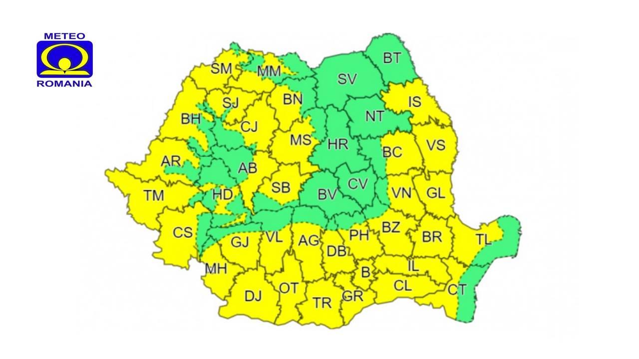 Cod galben de caniculă în județ și în majoritatea țării