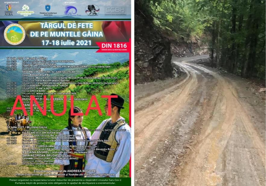 """""""Târgul de fete de pe Muntele Găina"""", anulat din cauza vremii nefavorabile. """"Drumul de acces nu mai prezintă siguranță de trafic"""""""