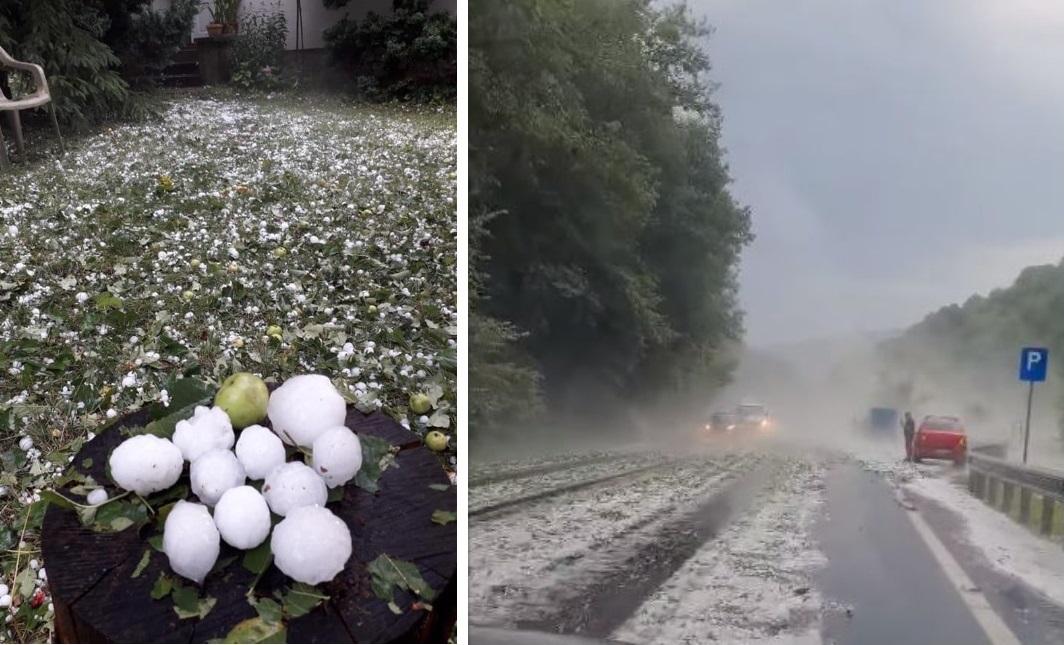 """FOTO – VIDEO: Grindină de mari dimensiuni, în unele zone ale județului. Șoseaua Deva – Brad, """"albită"""" de bucățile de gheață"""