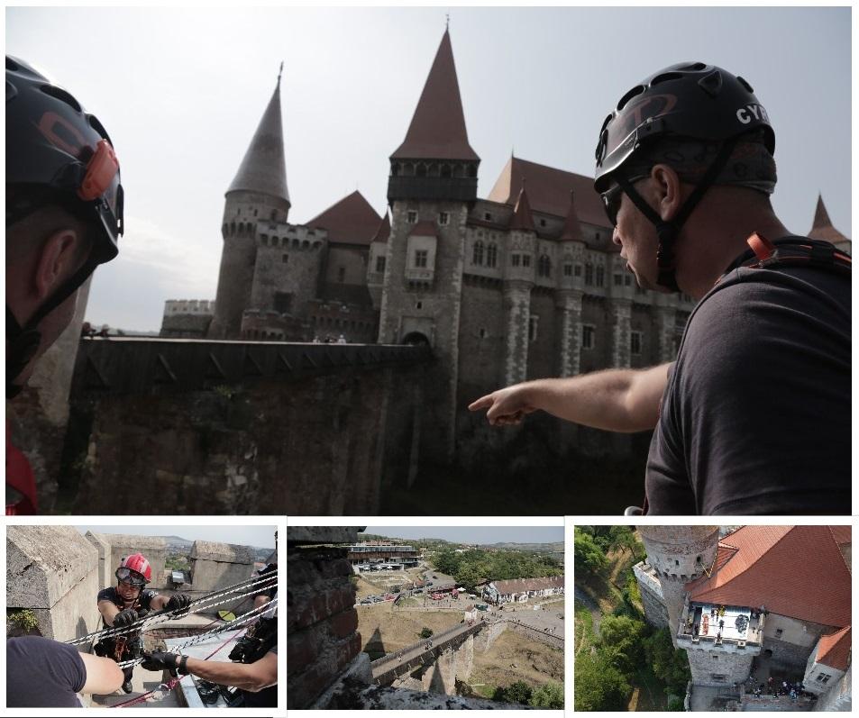 Antrenament unic în România: Salvări spectaculoase, în jurul impunătorului monument medieval de la Hunedoara. Ce scenarii și-au închipuit pompierii alpiniști