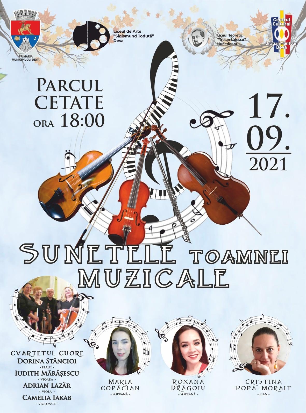 """""""Sunetele Toamnei Muzicale"""", la Deva. Recital artistic de excepție, în parcul de la poalele Cetății"""