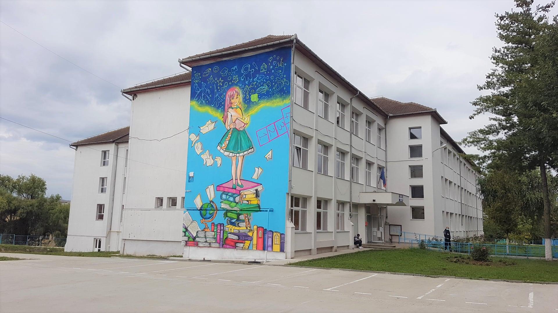 FOTO| Pictură gigantică pe clădirea unei școli din Hunedoara. Rezultatul a zeci de ore de muncă și a peste o sută de tuburi de vopsea