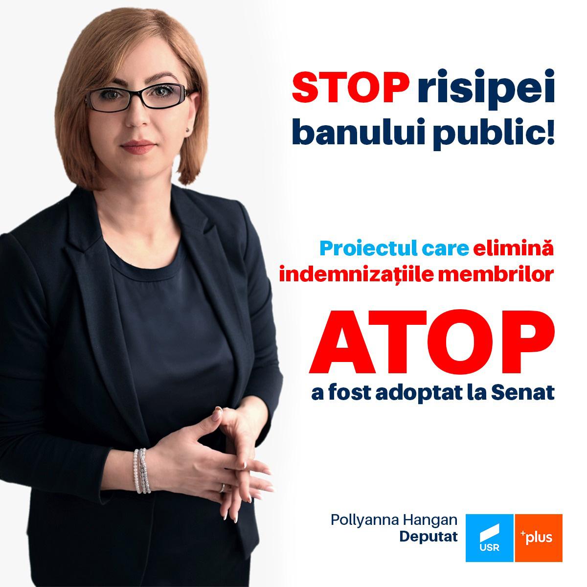 Victorie USR: Modificarea funcționării ATOP propusă de deputata Pollyanna Hangan a trecut de Senat
