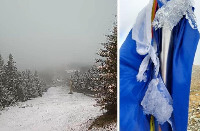 FOTO| Au căzut primii fulgi de nea în zona montană a județului. Vremea, atât de rece încât drapelul din Parângul Mare a înghețat