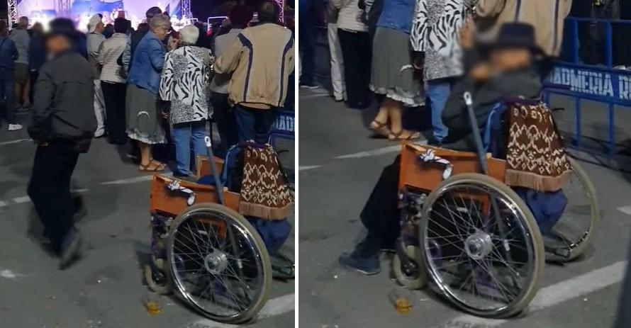 """""""Miracol"""" la Deva, de zilele orașului. Un individ care """"poza"""" în persoană cu dizabilități motorii a reușit să se ridice și chiar să joace"""